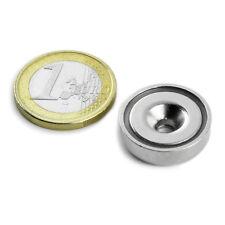 Super Magnete al Neodimio CSN-ES-20 POTENZA 11 Kg FORO SVASATO + BASE IN ACCIAIO