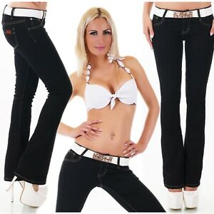 Womens Ladies Classic Bootcut stretchy jeans trousers Black Sizes UK 6-14