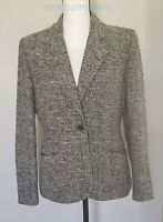 Kate Hill 100% Silk Jacket / Blazer Women sz 6, Black/White Classic Career