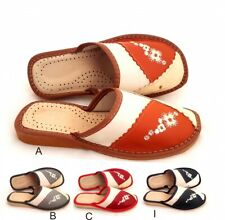 100% Leather Women Ladies Indoor Home Shoes Slippers Mule Red Brown Grey Navy