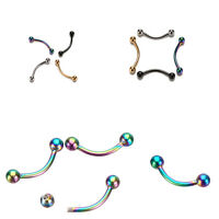 Stainless Steel Ball Curved Barbell Bars Lip Eyebrow Ring Body Piercing 1P RAC