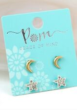 POM Jewellery double stud earring set star & moon - With Gift Bag