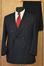Vtg Polo Ralph Lauren Double Breasted Suit 42L Navy Pinstripe Jacket Pants USA