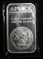 ONE (1) APMEX 5 OZ 0.999 FINE SILVER BAR  LOT 251005