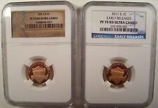 LOT OF 2 2011-S  LINCOLN 1C SHIELD NGC PF 70 RD UCAM+ PF 70 RD UCAM EARLY R.