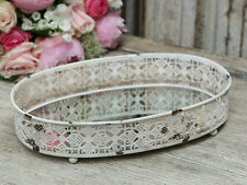 Antique White French Vintage Style Oval Mirror Tray, Wedding, Candle Display