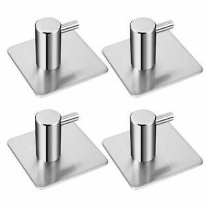 2x Stainless Steel Self Adhesive Hook Hanger Rectangular Sticky Hooks Towel Hook