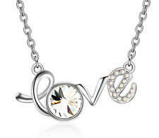 Fashion Womens LOVE White Crystal Rhinestone Silver Chain Pendant Necklace NEW
