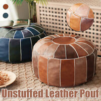 Round/Square Moroccan PU Leather Footstool Pouffe Pouf Handmade Ottoman Cover