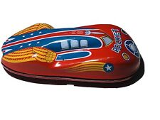 Schylling 2010 Red Rocket Replica Tin Litho Friction Car Loose Works Very Good