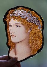 Female face stained glass fragment, kilnfired, Preraphaelites glass painting