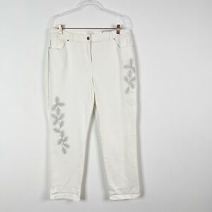 New Chicos 2.5 Large 14 Sateen Embellished Skimmer 26in Crop Pants Optic White