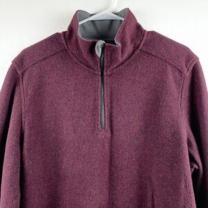 Toad & Co Men's Kennicott 1/4 Zip Long Sleeve Wool Shirt Size Large Burgundy t
