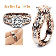 luxury royal wedding White Sapphire Rose gold Tow-Tone Promise Ring gift Size 8