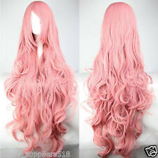 Fashion Long Pink Curly Vocaloid Megurine Luka Cosplay Party Full Wig