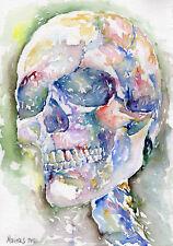HUMAN SKULL (#04) - Watercolor Painting - Marina Sotiriou gift for metal fan art