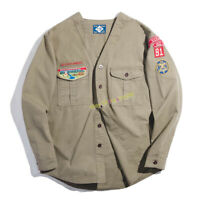 Boy Scouts of America Vintage Embroidered Coat Men's Workwear Loose V-neck Shirt