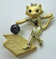 Cat Vintage Brooch Pin Feline Cat Bowling SIGNED by Danecraft Gold Plate NEW