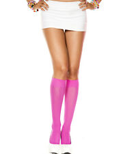 Autumn Solid Opaque Knee High Socks Stockings Goth Lolita Neon Candy Colors Rave