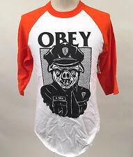 Obey Men's Baseball T-Shirt Sausage Patrol White/Orange Size M NWT Police Cops