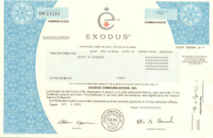 Exodus Communications > dot-com bubble internet stock certificate share