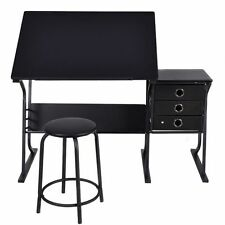 New Black Adjustable Drafting Table w/ Stool & Side Drawers