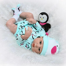 "22"" Full Body Silicone Vinyl bebe Reborn Baby Girl Doll Newborn Lifelike Gift US"