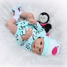 "22""Full Body Silicone Vinyl Reborn Baby Girl Doll Newborn Lifelike Handmade gift"