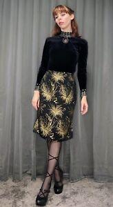 Vintage Cue Design Black Silk Embroidered Gold Floral Side Slit Skirt Aus 10 S