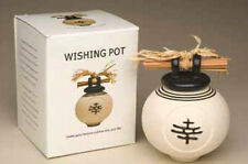 "Wishing Pot in Ancient Chinese Design, Off White, 5"" Tall w/ Writing Scroll #MH"