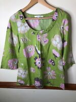Boden UK 10 Green Pink Floral 100% Linen Pleated 3/4 Sleeves Top Blouse Shirt
