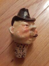 Vintage Ceramic Man's Head Liquor Wine Bottle Cork Stopper