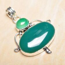 "Handmade Green Natural Chrysoprase 925 Sterling Silver Pendant 2"" #P16715"