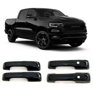 For 2019-2022 Ram 1500 GLOSS BLACK 4 Dr Handle Cover WITH Smartkey ALL NEW MODEL