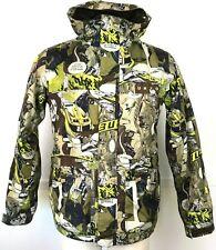 Burton DryRide Poacher Green Brown Comic Strip Ski Jacket Coat Men's Small