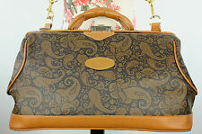 Vintage TEXIER Large Paisley Tan Leather Gladstone Satchel Holdall Weekend Bag