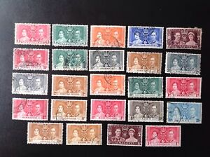 George VI 1937 Coronation used stamps,24 different including Hong Kong.