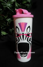 Tupperware NEW Kids Adult Adorable ZEBRA 16oz Tumbler with PINK Flip top Seal
