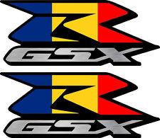 2 Custom Romania Flag GSXR Decals Stickers 600 750 1000 hayabusa 1300 Romanian