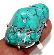 Turquoise 925 Sterling Silver Plated Ring US 8 GW