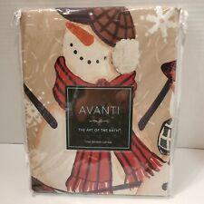 Avanti Gathering Snowmen Fabric Shower Curtain Polyester 72 x 72  NEW