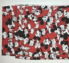 Disney Mickey Mouse Red Black White Twin Sheet Fabric Vintage