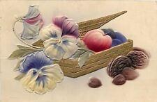 White Purple Blue Pansies in Gold Weave Basket~Brown Walnuts~Red Apple~Airbrush