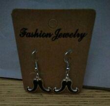 Black Mustache Charm Dangle Earrings - Free Shipping in US - B