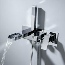 Contemporary Bathroom Waterfall Bathtub Faucet Roman Tub Filler with Hand Shower