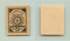 Latvia 1919 SC 30 MNH no wmk proof black yellow paper. f2939