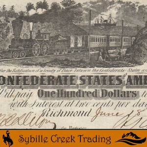 POPULAR T-40 1862 $100 CONFEDERATE CURRENCY  *TRAIN NOTE*  7648