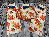 Fall Leaves Kitchen Towel 4 Pc Set 2 Pot Holders 2 Towels Thanksgiving Harvest