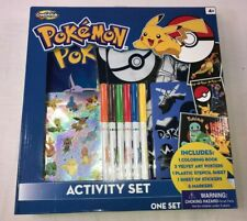 NEW Pokemon Art Activity Set Coloring Book-Velvet Posters-Stencil-Stickers