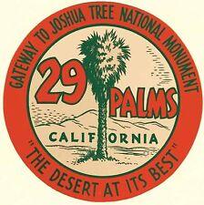 29 Palms  California     Vintage 1950's-Style Travel Decal  Sticker   USMC